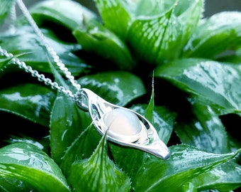 Dew Moonstone Pendant Sterling Silver organic flower leaves  jewelry earth lover pearl green water dew morning