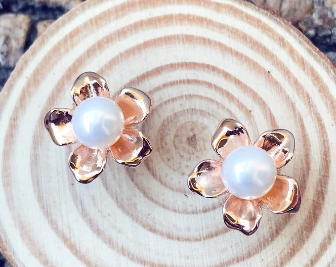 Blossom Stud Earrings (Rose Gold Vermeil) Sterling Silver organic flower seed sterling silver jewelry earth lover pearl plant earrings