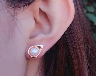 Dew Pearl Stud Earrings (Rose Gold Vermeil) Sterling Silver organic flower leaves jewelry earth lover pearl green water dew morning