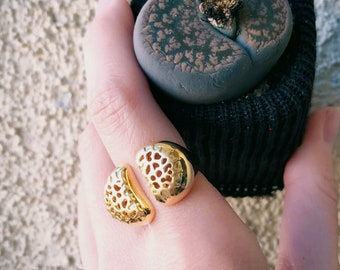 Living Stones Ring (Gold Vermeil) Sterling Silver organic Lithops jewelry earth lover cactus succulent