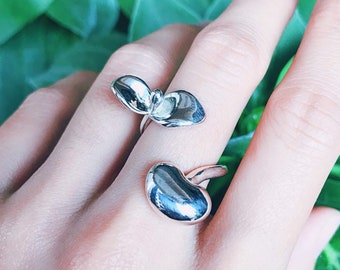 Budding Ring Sterling Silver organic flower seed sterling silver jewelry floral gold vermeil budding stud