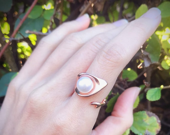 Dew Pearl Ring Sterling Silver Rose Gold Plated organic morning dew drop on leaves sterling silver jewelry earth lover pearl