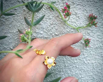 Blossom Ring (Gold Vermeil) Sterling Silver organic flower seed sterling silver jewelry earth lover pearl green ring