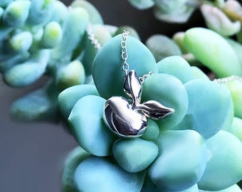 Budding Pendant Sterling Silver organic flower seed jewelry floral necklace pendant chain