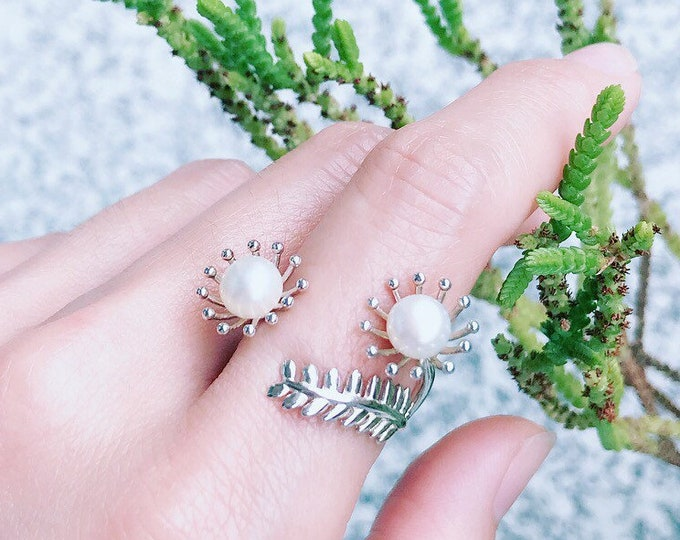 Mimosa Ring Sterling Silver organic flower seed sterling silver jewelry earth lover pearl green mimosa ring gold vermeil
