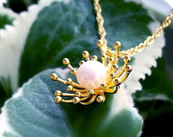 Mimosa Pendent (Gold Vermeil) Sterling Silver organic flower seed jewelry earth lover pearl mimosa gold vermeil jewelry pendant necklace