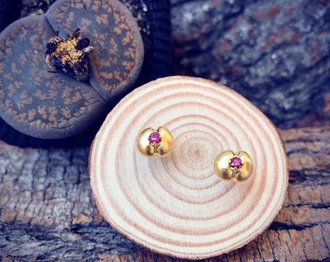 Living Stones Stud Earrings (Gold Vermeil) with Rhodolite Garnet Sterling Silver organic flower jewelry earth lover cactus succulent