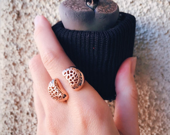 Living Stones Ring (Rose Gold Vermeil) Sterling Silver organic Lithops jewelry earth lover cactus succulent