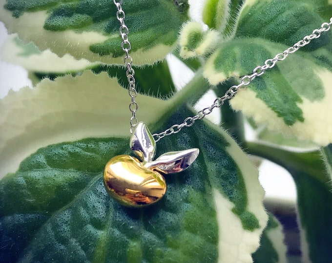 Budding Pendant (Gold Vermeil) Sterling Silver organic flower seed jewelry floral gold vermeil budding necklace pendant chain