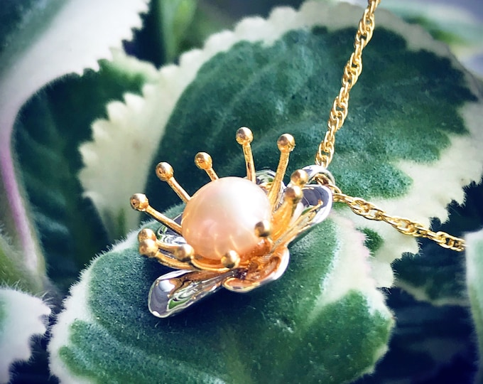 Blossom Pendant (Gold Vermeil) organic flower seed sterling silver jewelry floral gold necklace pendant chain blossom