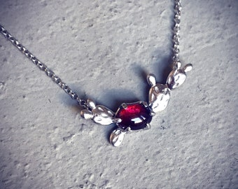 Prickly Pear Pendant Sterling Silver with natural garnet fruit center cactus lover necklace