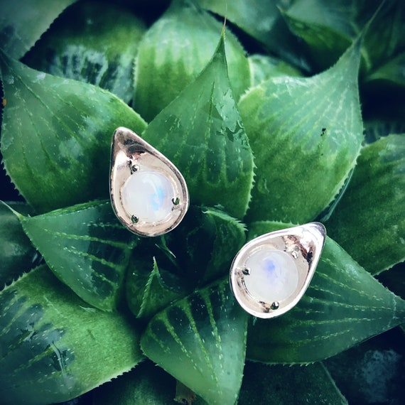Dew Rainbow Moonstone Stud Earrings Sterling Silver organic flower leaves sterling silver jewelry earth lover pearl green water dew morning