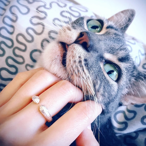 Hug Time Cat Ring Sterling Silver lovely naughty baby kitty pet friend forever kiss family jewelry sterling silver ring