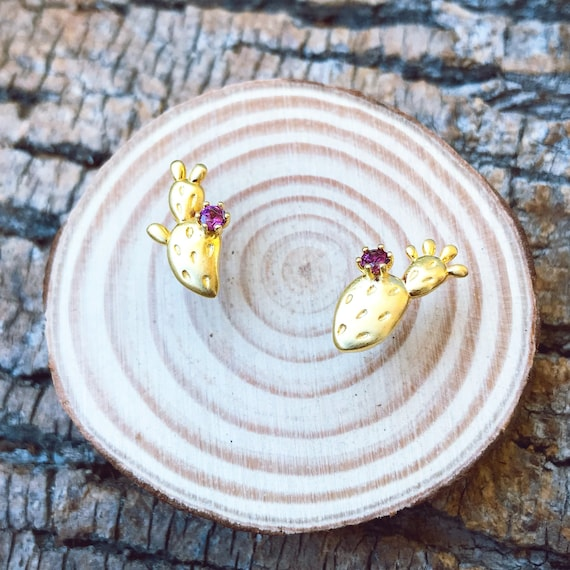 Prickly Pear Stud Earrings (Gold Vermeil) Sterling Silver with natural garnet fruit center cactus lover necklace