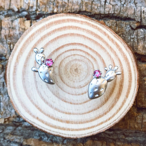 Prickly Pear Stud Earrings Sterling Silver with natural garnet fruit center cactus lover necklace