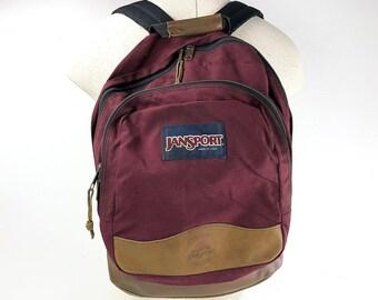 Jansport Backpack Leather Bottom - 90s Vintage Jansport Burgundy Backpack - Red  Rucksack Padded Straps Leather Hang Hook - Jansport Book Bag d426e36527