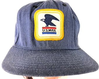 a35355d511db 80s US Mail Post Office Hat Classic Blue Denim US Mail Eagle Cap Vintage  Trucker Hat Size Large Snapback Cap Made in the USA Patriotic Cap
