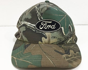 a145014cd8f Camouflage Ford Cap Vintage Trucker Hat - Ford Trucks Logo Trucker Hat for  Women or Men - Ford Camo Snapback for Hunting or Driving Around