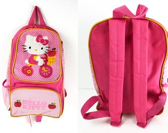 e63398165 Vintage Hello Kitty Backpack in Hot Pink Red Mauve & White - Vinyl and Mesh  School Bag with Paddled Straps and Hang Hook - Kitty on Tricycle