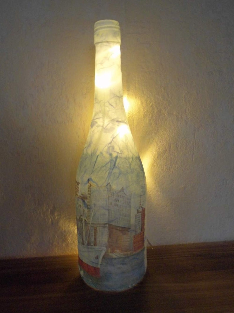 Luminous bottle Bottle with light Elbphilharmonie