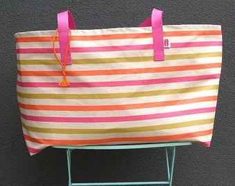 XXL Beachbag STRIPES pink