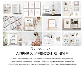 Airbnb Host Bundle | Welcome Book Template | Superhost | How to start an Airbnb | Airbnb Printable | Airbnb | VRBO | Airbnb welcome Book