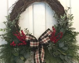Winter woodsy wreath for front door, Christmas wreath, Porch Decor, Twig Wreath