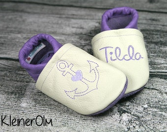 ec8a8357ce4e4c ... Crawling slippers leather with anchors from Gr. 18 19-Leather Slippers  best quality 9e514 ...