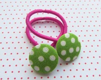 Points children's hair rubber set apple green