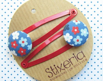 Colorful Scattered Flowers Children's Hair Clips RED