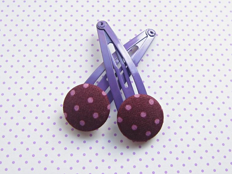 Purple Dots Children's Hair Clips image 0