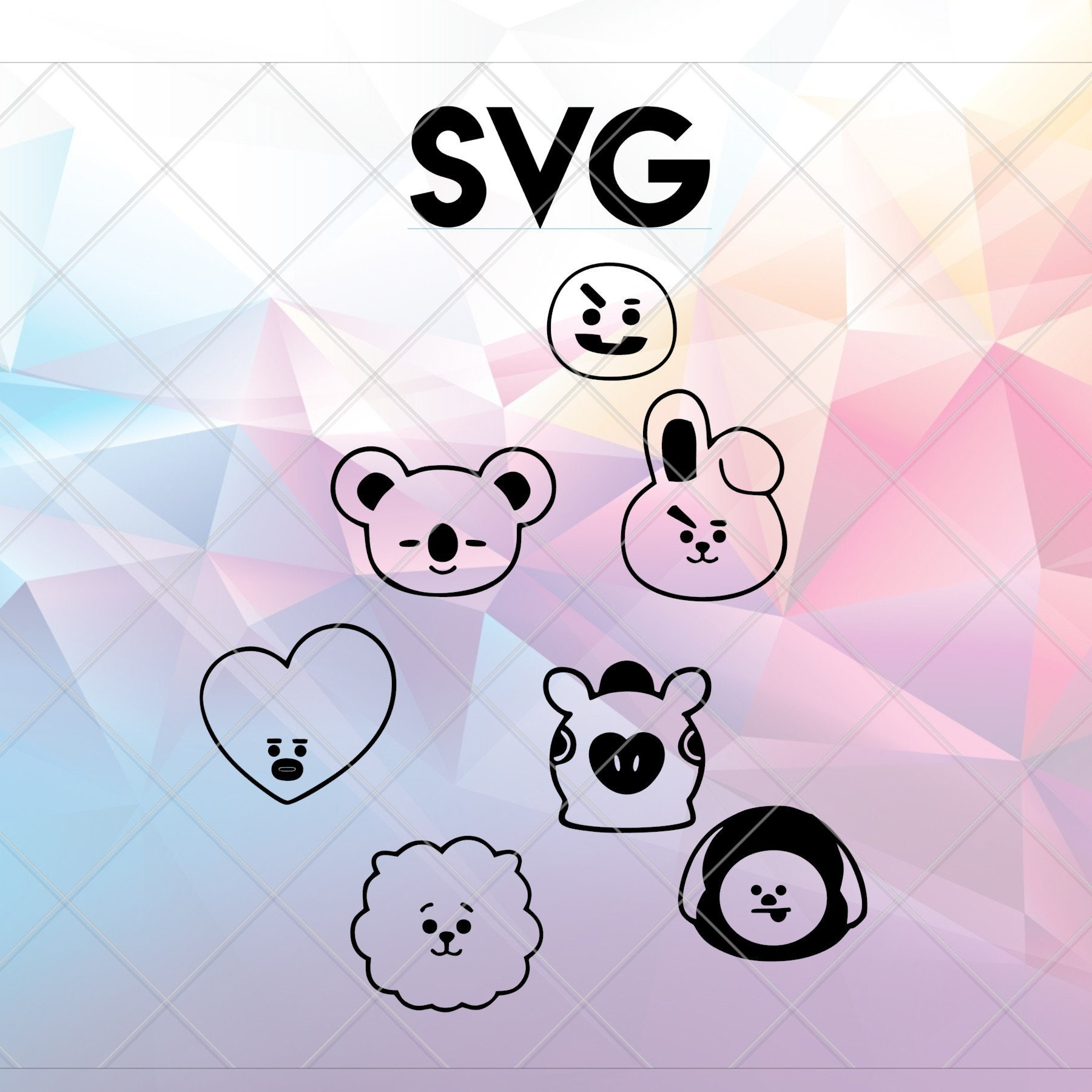 Bts Bt21 Character Faces Svg File File For Cricut Amp Cameo