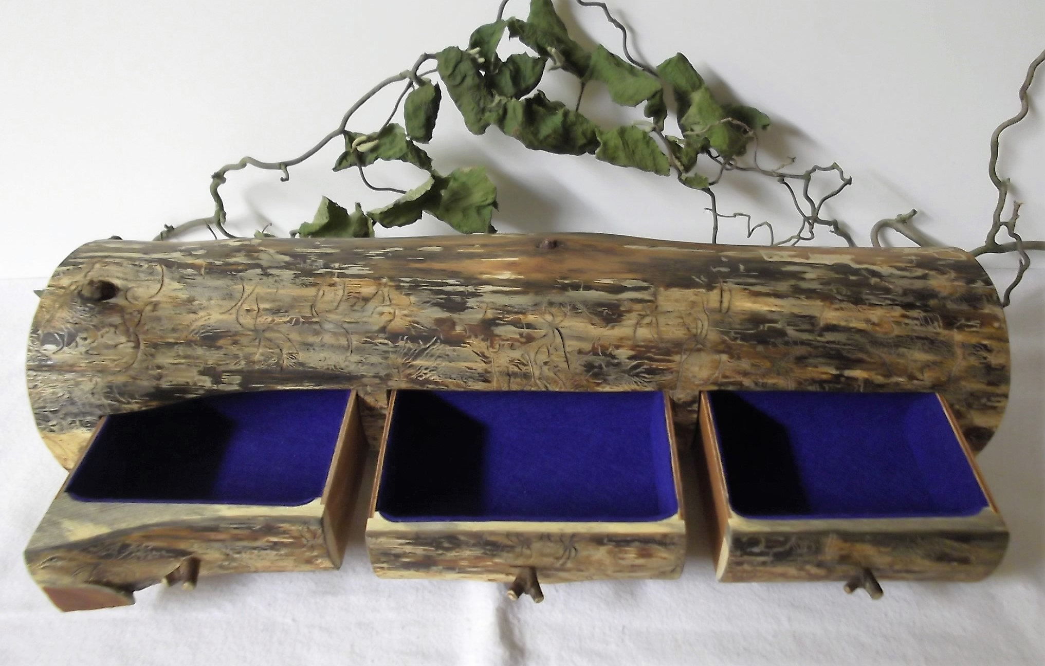 a jewelry box from a pine tree trunk.