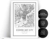 Custom Map Printable Wall Art, Choose City Map, Any City Map, Custom Map Wall Art Print, Personalized Map, Map Gift Wall Art, Customized Map