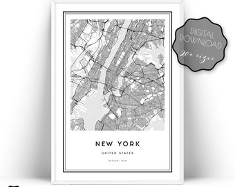 New York Map Print City Wall Art Prints Printable Of Poster Manhattan