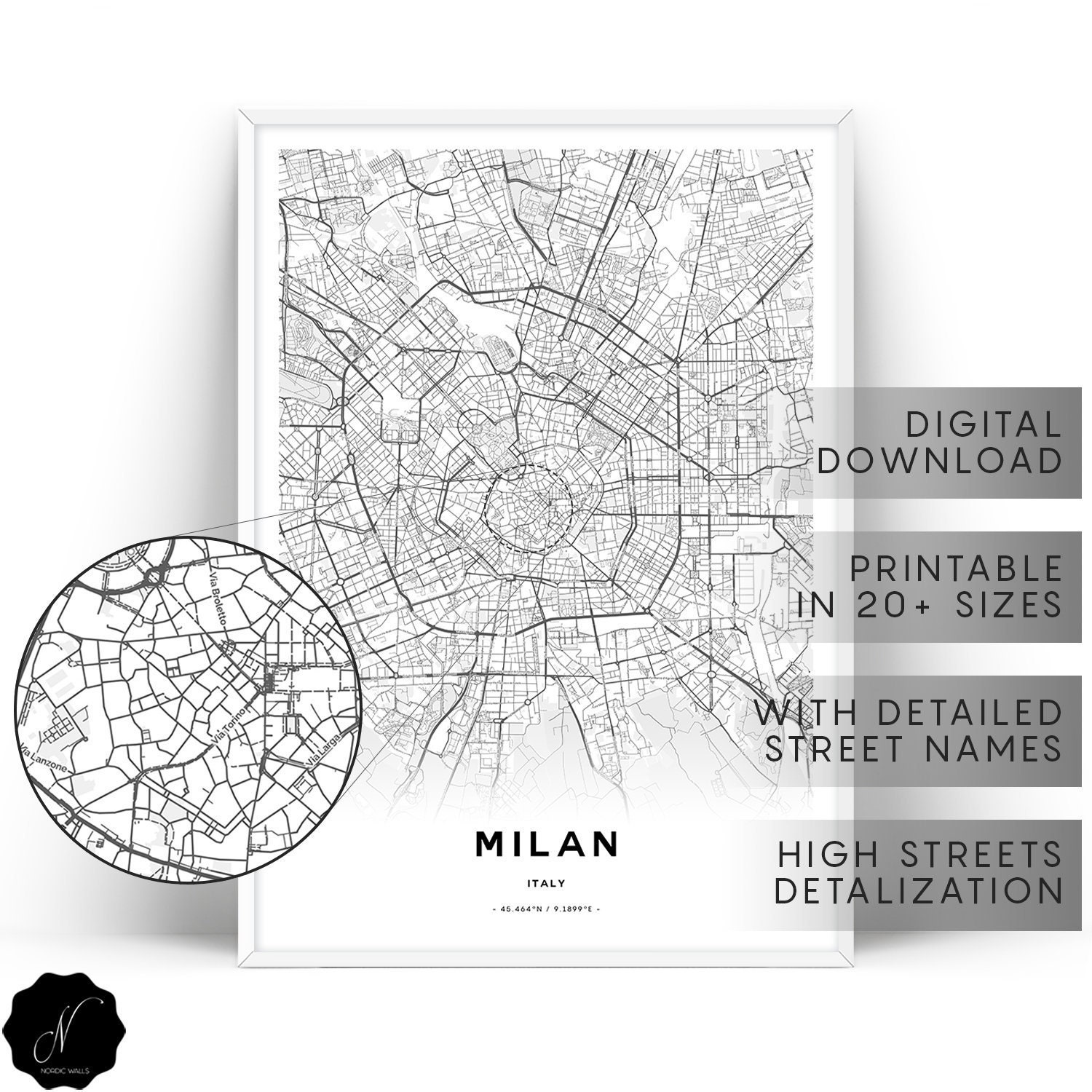 Milan Map Printable Wall Art Maps As Art Printable Map Of | Etsy
