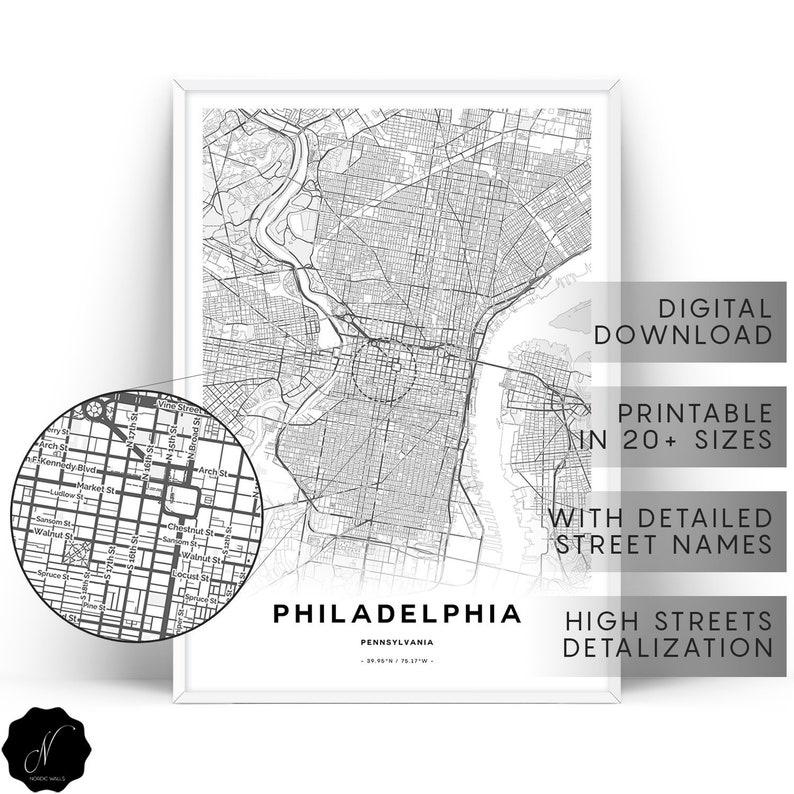 photo relating to Printable Map of Philadelphia titled Philadelphia Map Print, Maps As Artwork, Philadelphia Wall Artwork Prints, Printable Map Of Philadelphia, Map Presents, Printable Wall Artwork, Custom made Maps