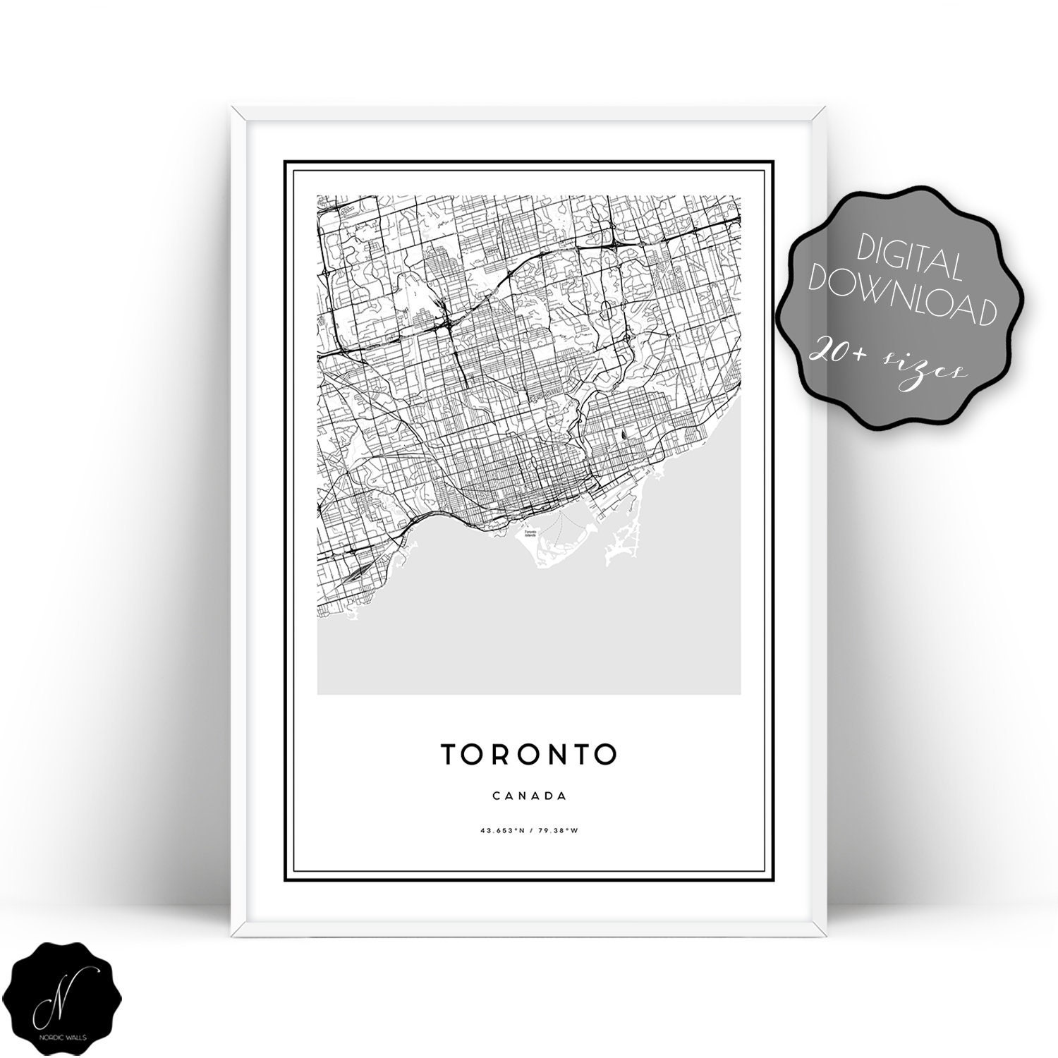 Toronto Map Printable Wall Art Toronto City Map Wall Art | Etsy
