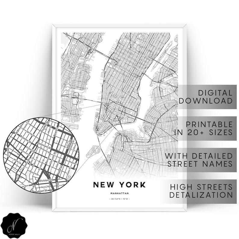 New York Map Print Manhattan Map Print Map Gifts Map As Art Etsy
