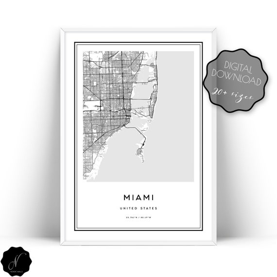 Miami Florida Map.Miami Map Printable Wall Art Downloadable Map Of Miami Wall Etsy
