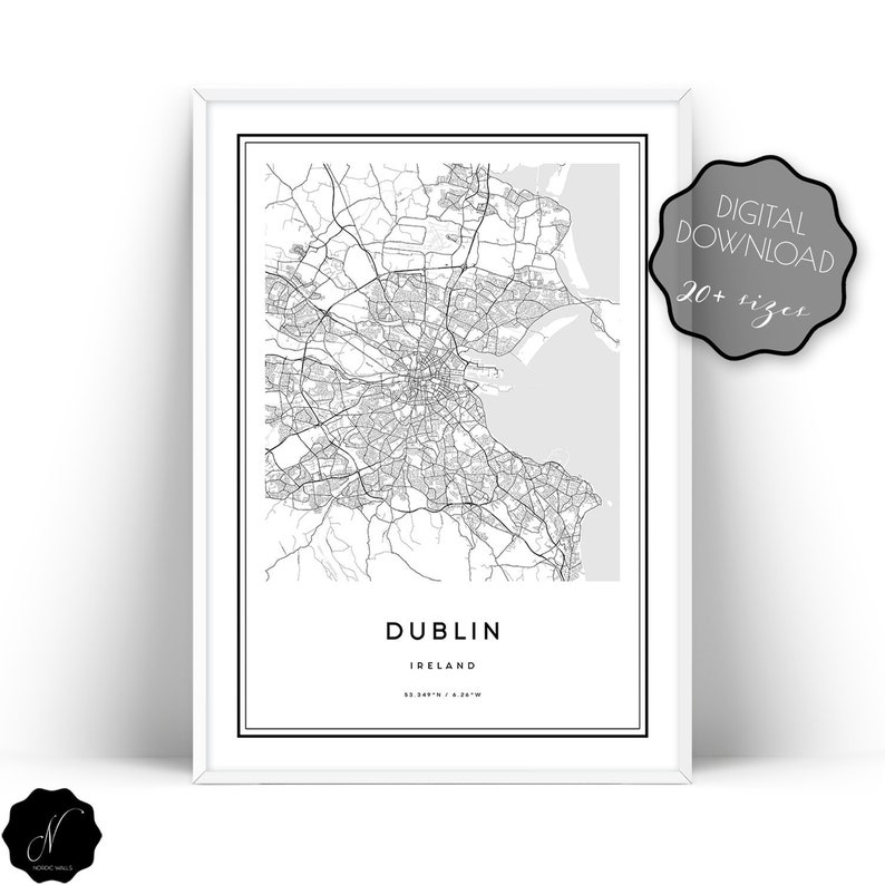 Dublin Map Print Map Of Dublin Dublin Map Wall Art Prints | Etsy on