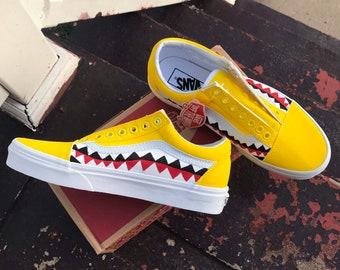 ad7d9f86b926 Custom Bape Shark Teeth Vans