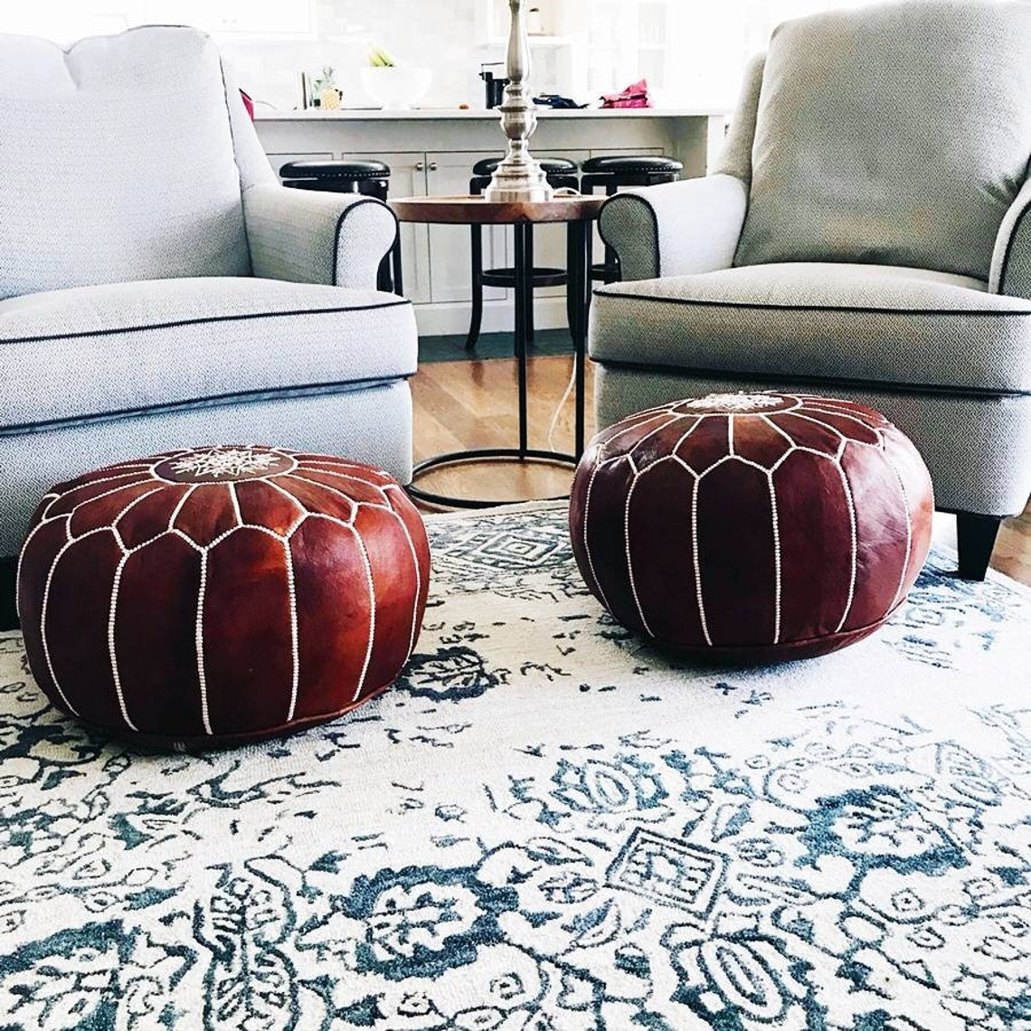 Set of 2 Handmade Moroccan Pouf, Genuine Leather Ottoman, Natural Tan Color Pouffe unstuffed  Footstool