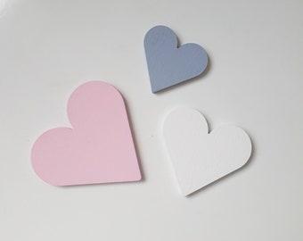 Herz, Herzen, Holzmotiv Set in rose, grau, weiss