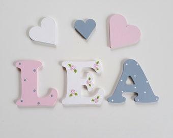 Holzbuchstaben Türschild grau rosa weiß Kinderzimmer Buchstaben Tür