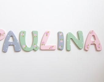 Holzbuchstaben, Türbuchstaben, Kinderzimmertür, Buchstaben Kinderzimmer 6 cm grau mint rosa Rosenmuster