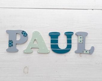 Holzbuchstaben Türschild Kinderzimmer in grau, petrol, mint