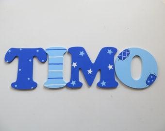 Holzbuchstaben, Türschild, blau, Kinderzimmer, Türbuchstaben