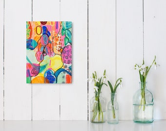 Multicolor on canvas, Vibrant Print colorful original abstract painting and great abstract wall vertical art