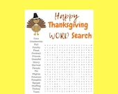Print at Home, fun game for Thanksgiving Word Search, Seek and Find, Instant Download, Thanksgiving Instant Download
